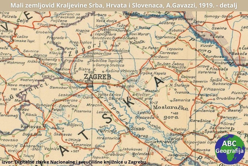 Detalj karte Mali zemljovid Kraljevine Srba, Hrvata i Slovenaca, Artur Gavazzi, 1919.