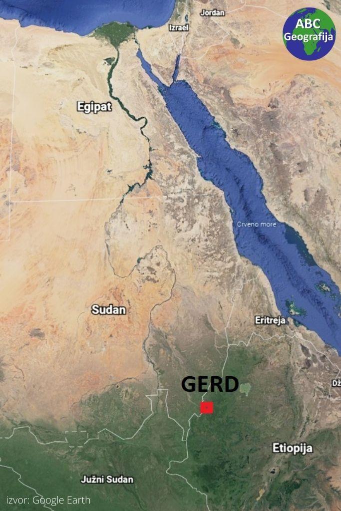 Velika etiopska renesansna brana - lokacija na karti