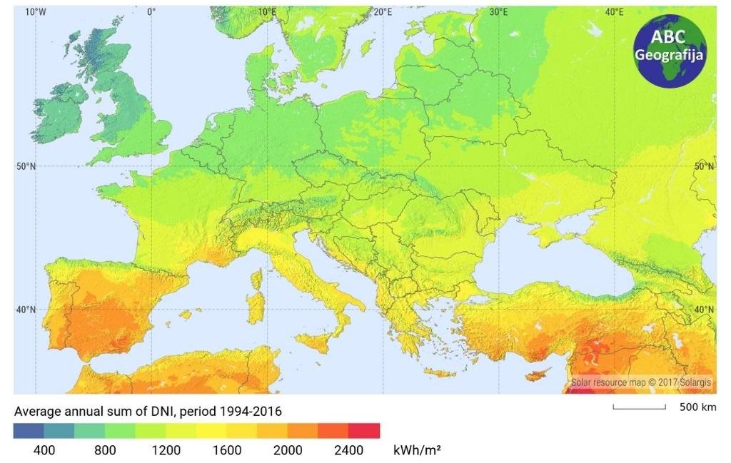 Izravno normalno zračenje u Europi