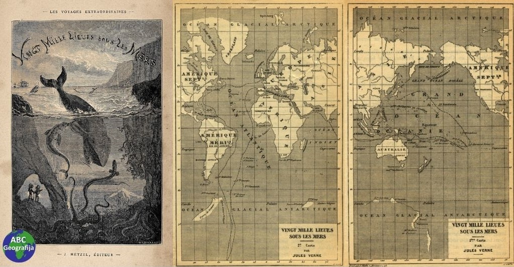 20.000 milja ispod mora - naslovnica i karte