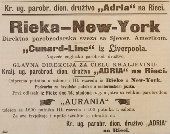 Reklama za putovanje Rijeka-New York brodom Carpathia objavljena u novinama Banovac 21. studenog 1902. godine