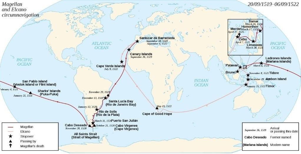 Plovidbene rute Magellanove ekspedicije
