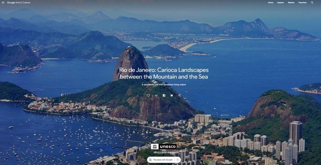 """Slika zaslona dijela UNESCO-ve izložbe (početak izložbe """"Rio de Janeiro: krajolici Carioce između planine i mora"""