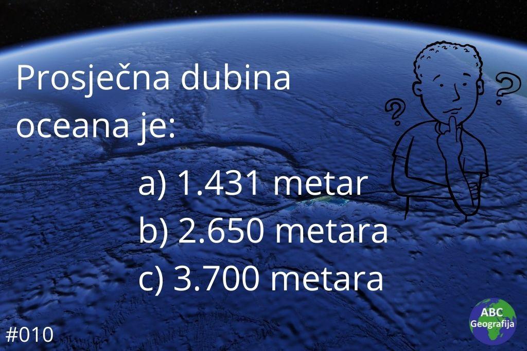 Koja je prosječna dubina oceana?