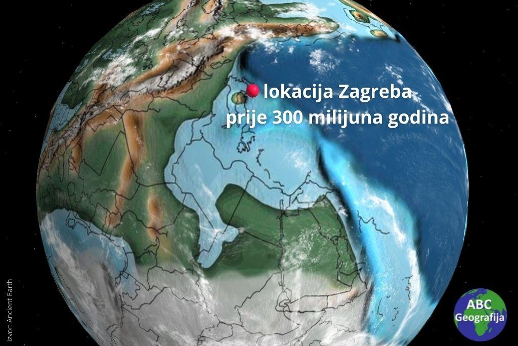 lokacija Zagreba prije 300 milijuna godina