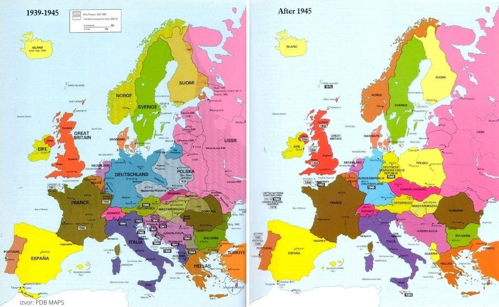 Politička karta Europe prije i nakon Drugog svjetskog rata