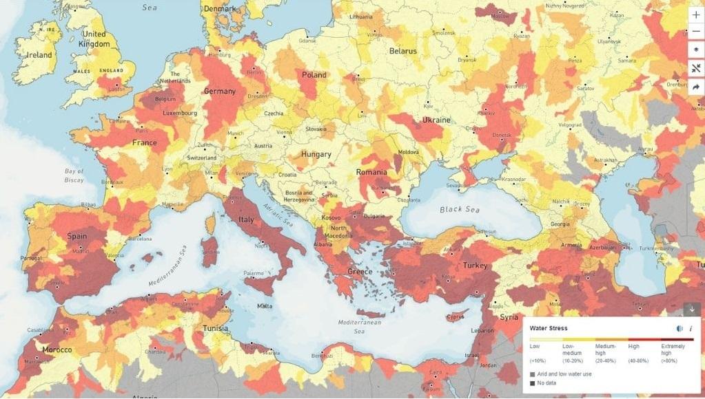 Karta vodenog stresa dijiela Europe, Azije i Afrike