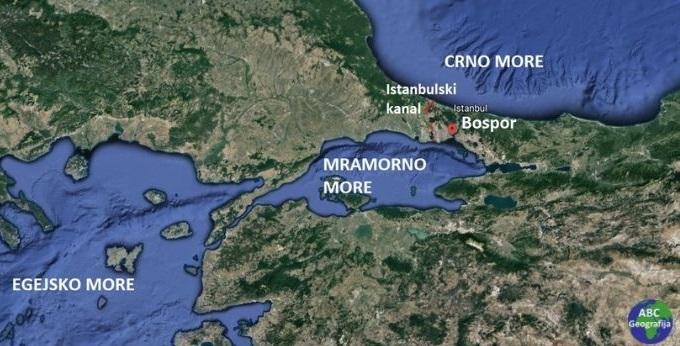 Prolazi Dardaneli i Bospor koji povezuju Egejsko, Mramorno i Crno more  - karta
