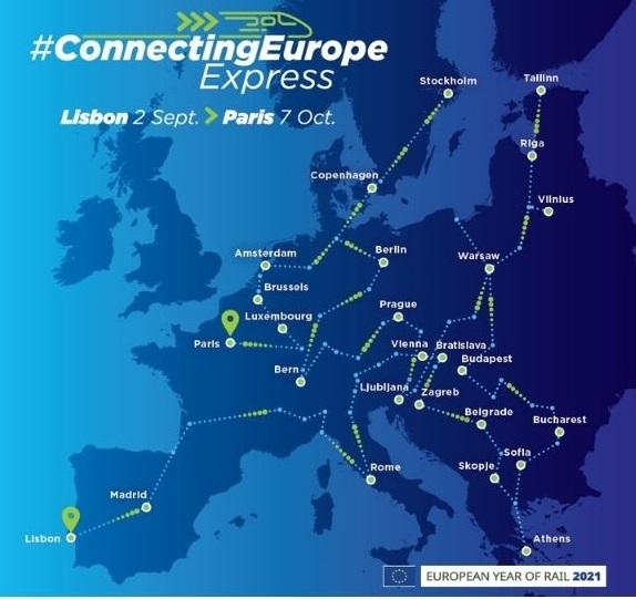 trasa vlaka Connecting Europe Express