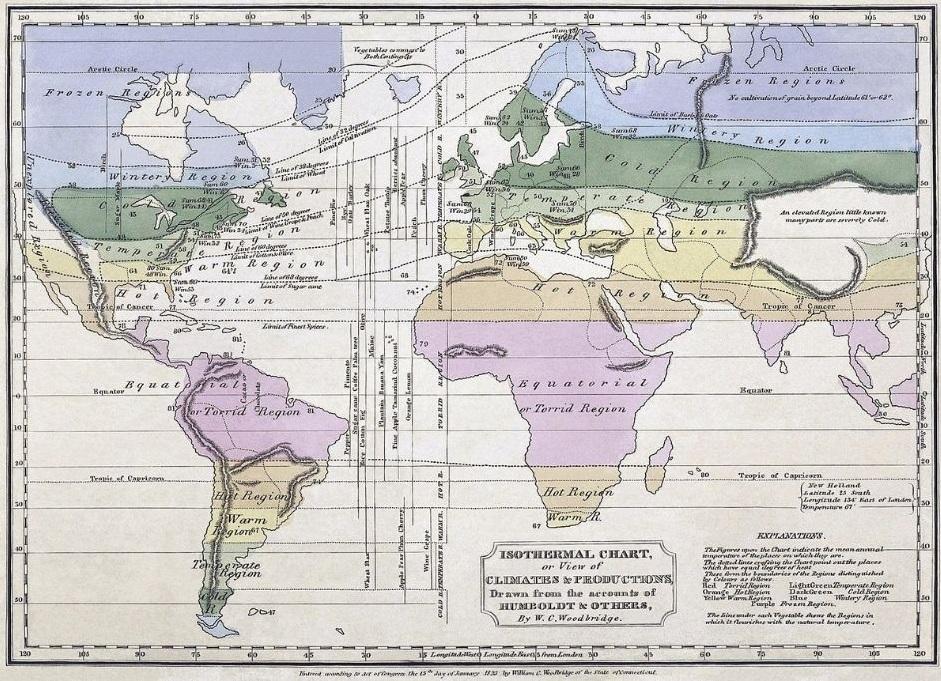Karta iz 1823. godine koja koristi Humboldtovu inovaciju izotermnih linija (linija koje povezuju točke iste prosječne temperature)