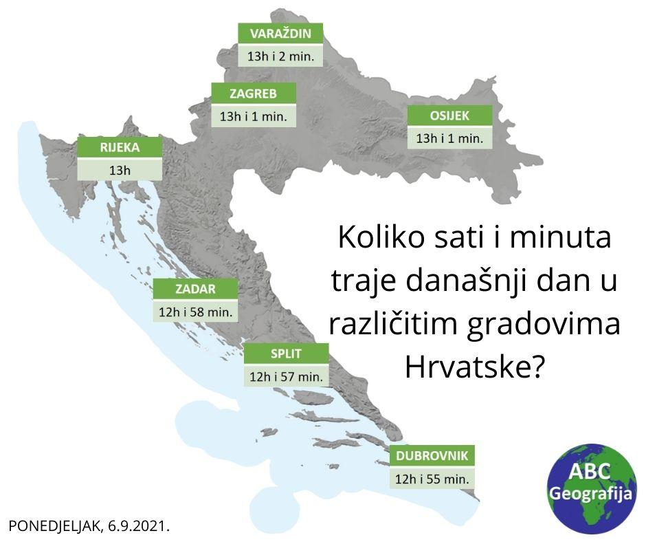 Koliko sati i minuta traje današnji dan u različitim dijelovima Hrvatske? . karta