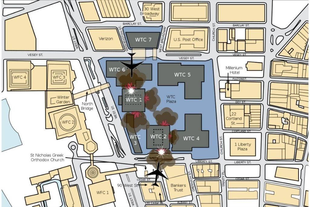 Napad na zgrade Svjetskog trgovačkog centra (zrakoplovi nisu prikazani u mjerilu)