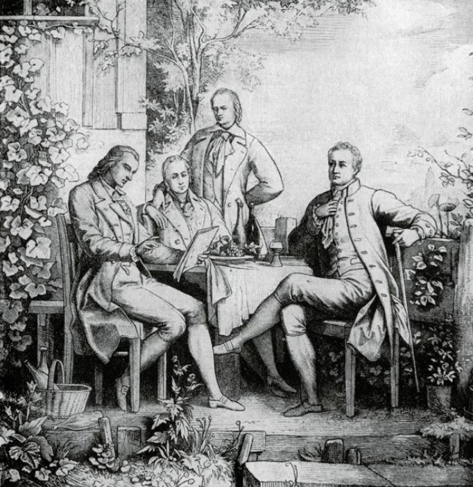 Friedrich Schiller, braća Humboldt i Johann Wolfgang von Goethe u Jeni, rad W. Aarlanda