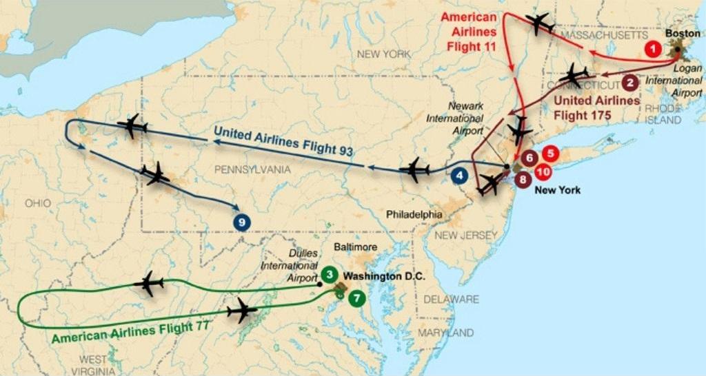 Trasa leta četiriju otetih zrakoplova 11. rujna 2001. godine